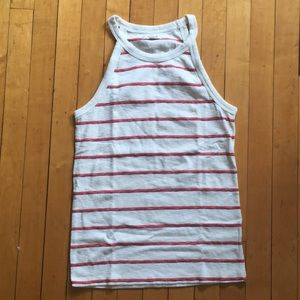 Madewell white striped tank